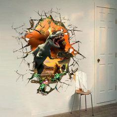 Dinosaurio Jurassic Park 3d De Gran Tamaño pegatinas de pared dormitorio de los niños Mural De Papel Tapiz Decoración
