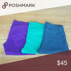 OLD NAVY BUNDLE OF PANTS OLD NAVY ROCKSTAR PURPLE AND GREEN SIZE 12 2 PAIRS NWOT SKINNY  ONE FADED GLORY JEGGING IN GREENISH GREY SIZE LARGE 12-14 STRETCH LEGGINGS Old Navy Pants Skinny