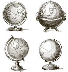Set of four hand drawn globes vector by kamenuka on VectorStock®