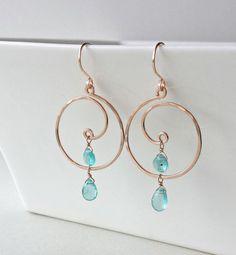 Rose Gold Koru Apatite Hoops Earrings by BellaAnelaJewelry