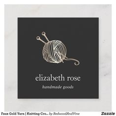 Faux Gold Yarn   Knitting Crochet Handmade Crafts Square Business Card Crochet Crafts, Yarn Crafts, Knit Crochet, Square Business Cards, Business Card Logo, Knitting Needles, Knitting Yarn, Rose Gold Foil, Gray Background