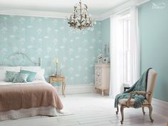 This delicate 'shabby-chic' design perfectly evokes the uplifting feeling of summer days and flowering meadows.  Featuring Meadosweet wallpaper and Sea Urchin 4 by Dulux.