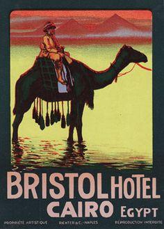 Luggage label from the Bristol Hotel, Cairo, early 20th Century.......  Autor/a pineado: Brimstone Dreams ...... Álbum pineado: Travelling to Egypt ....... http://www.pinterest.com/brimstonedreams/travelling-to-egypt/?utm_campaign=recs_141229&utm_term=6&utm_content=196258564950584312&e_t=d6cb4851402e45048e24ca9ef13e533d&utm_source=31&e_t_s=boards&utm_medium=2004