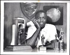 Jackie Robinson: Jackie is pictured in his study at his home at Street, St. Albans, Queens surrounded by some of the many trophies he has won. Dodgers Baseball, Baseball Players, Dodger Blue, Jackie Robinson, King Of Kings, Kiosk, St Albans, History, Sports