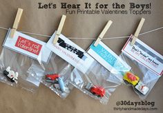 4 (!!) fun Printables for BOYS for Valentine's Day on @Mique Provost  30daysblog.  #valentines