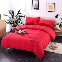 spring red washed cotton princess wind embroidery bedding sets duvet cover set bed sheet pillowcase king king queenbed sheetsduvet