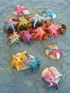Star Fish Ribbon Sculpture from our Under The Sea Collection.  Beautifully hand crafted. Available with hair clip or pin back – $5 each – bow colors will vary Do you want a color not seen here or a starfish without polka dots? Just ask, we've got hundreds of ribbon colors!