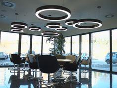 ADMINISTRATIVNÍ BUDOVA ESSENS (ČR) Lighting System, Conference Room, Chandelier, Ceiling Lights, Table, Furniture, Home Decor, Candelabra, Decoration Home