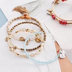 Stacks on stacks on stacks – of Alex and Ani bangles.