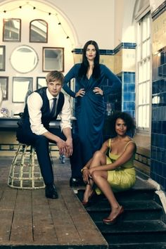 """Merlin Cast"" left to right; Bradley James, Katie McGrath, Angel Coulby"