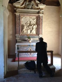 Praying in the room where St. Thomas Aquinas died. Learn more at http://PivotalPlayers.com.