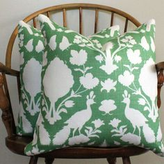"""New Schumacher Chenonceau in Fern - 20"""" Pillow Cover"""