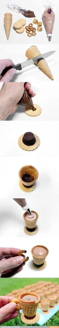 Edible tea cup made with icing, Reeses cups, pretzel, Oreos, and icecream cone.