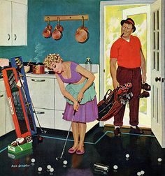 Putting Around the Kitchen, art by Dick Sargent. Detail from Saturday Evening Post cover September 3, 1960.