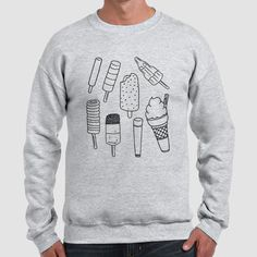 Ice Cream | Quote Slogan Illustration Personalised Unisex, Tumblr, Blog Fashion Drawing Funny, Hipster, Joke, Gift, Sweater, Sweatshirt, Hoodie, Hooded, Top Men Women Ladies Boy Girl
