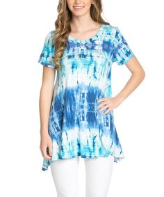 Loving this Turquoise & Royal Tie-Dye Scoop Neck Tunic - Plus Too on #zulily! #zulilyfinds