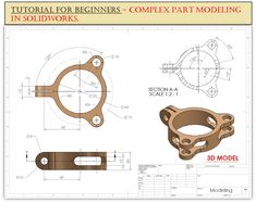 Solidworks Tutorial, Drawing Exercises, Cad Drawing, Video Link, 3d Modeling, Technical Drawing, Excercise, Step By Step Instructions, 3d Printing