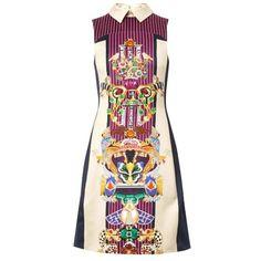 Mary Katrantzou Gattaca Totem Bone-print dress (£583) ❤ liked on Polyvore featuring dresses, vestido, multi, panel dress, navy dress, navy blue dress, cream dress and mary katrantzou dress