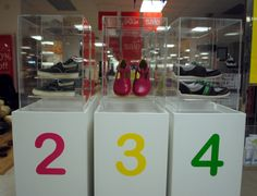 // visual merchandising // display // hot spot // childrens shoes // shoe display
