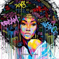 Street art from French artist Noe Two - Dream, graffiti Black Girl Art, Art Girl, Art Afro Au Naturel, Dope Kunst, Urbane Kunst, Natural Hair Art, Grafiti, Black Artwork, Inspiration Art