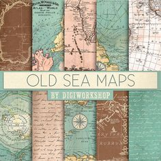 "10 Vintage maps digital paper Old Sea Maps  with by DigiWorkshop...I do not understand the ""digital"" part of this? LOVE these vintage, intriguing maps! -kjm 1/1/2015"
