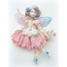 Opal ~ mixed media altered art collage vintage silk flower fairy paper doll, via Flickr.