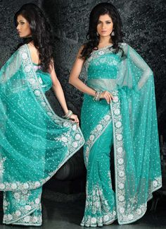 turquoise saree