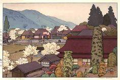 Village of Plums  by Toshi Yoshida, 1951. Woodblock print.