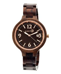 Look at this Dark Brown Nodal Wood Bracelet Watch on #zulily today!