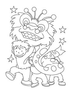 Little Kids Dance Dragon Chinese New Year Coloring Pages