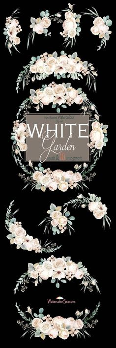 Flowers Watercolor Hand painted Clipart White Flowers Wreath