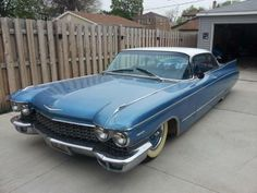 1960 Cadillac Coupe Custom, oldsmobile, fence, road, hot wheels, blue, vehicle, transportation, history, romantic, photo.