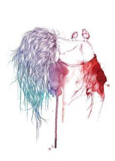 bird, colors, cute, drawing, girl
