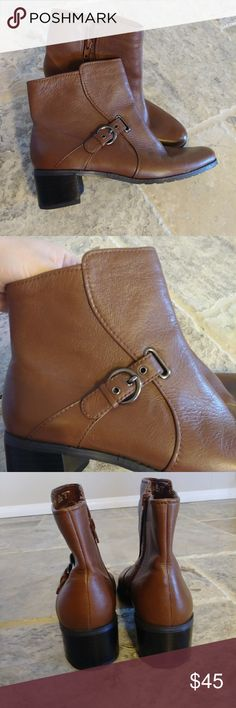 Brown booties with a block heel. Comfortable! Good pre-worn condition. One small scuff at the toe. Comfortable boot. Easy and felxible footbed Easy Spirit Shoes Heeled Boots
