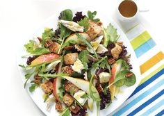 The Big Chicken Salad...Revamp your leftover chicken! Pears and a maple syrup dressing add a touch of sweetness to this salad. (400 cals)
