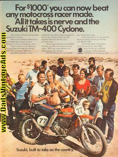 1971 Suzuki TM-400 Cyclone Motorcycle Ad. This bike was a rocket with a hair trigger. The only way to ride it was to pin the throttle and hang on. It would swap ends in a heart beat and wheelie out from underneath you just for grins. Forget style.