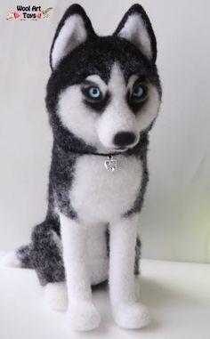 Siberian Husky Artist Needle Felted Dog Sculpture by WoolArtToys.deviantart.com on @DeviantArt