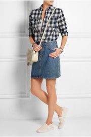 Girl plaid cotton-blend shirt