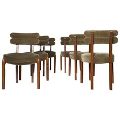 Set of Six Art Deco Dining Chairs with Brass Details 1