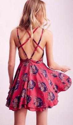 Women Sleeveless Floral Print Backless Flare Dress