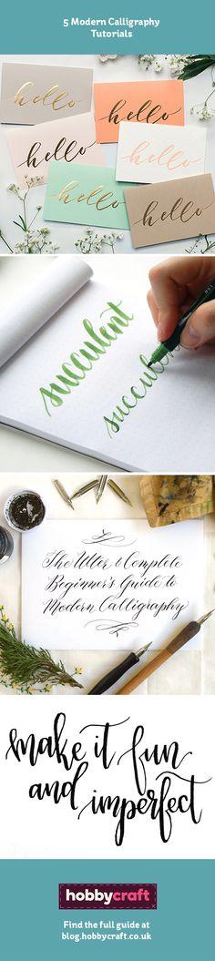 5 Modern Calligraphy Tutorials   Hobbycraft #Hobbycraft #calligraphy #brushlettering #typography #art