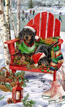 --Dachshund (black& tan) Christmas Holiday Christmas cards