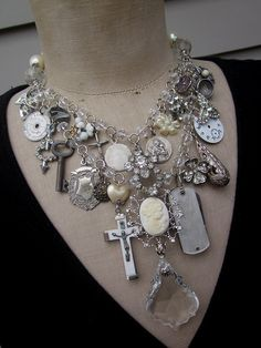 Vintage Necklace  Charm Necklace Steampunk Necklace by rebecca3030