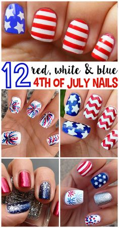12 Patriotic 4th of July Nail Ideas - Love the fireworks and chevron designs!