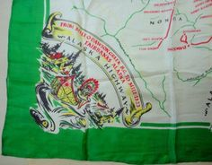 Scarf Silk 26in #Alaska Highway BC to Fairbanks 1940s Map Mounties Dog Sled Vtg Unbranded #Scarf #Everyday