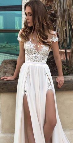Chiffon White Floral Lace Prom Dress 2018
