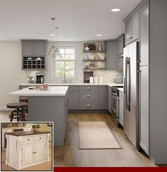 Home Decor Kitchen, Diy Kitchen, Kitchen Furniture, Awesome Kitchen, Kitchen Counters, Kitchen Hacks, 10x10 Kitchen, Gray Kitchen Cabinets, Wood Countertops