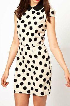 OL dot printing short sleeve dress