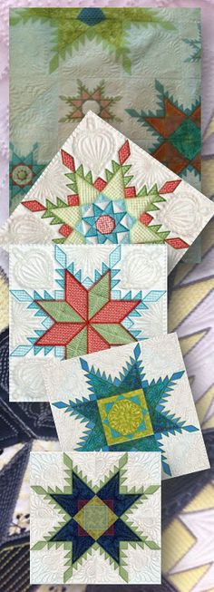 """Feathered Star"" quilt blocks"