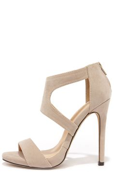 Twirl-wind Nude Suede Dress Sandals//
